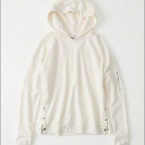 A&F Cream Side-Snap Hoodie | Size Medium